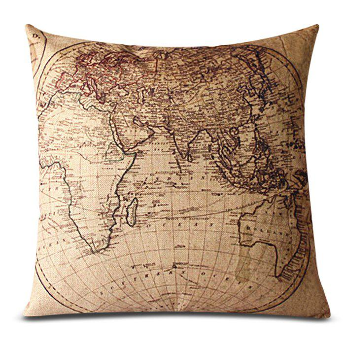 2018 Classical Linen World Map Pattern Decorative Pillowcase Without Pillow Inner In Khaki