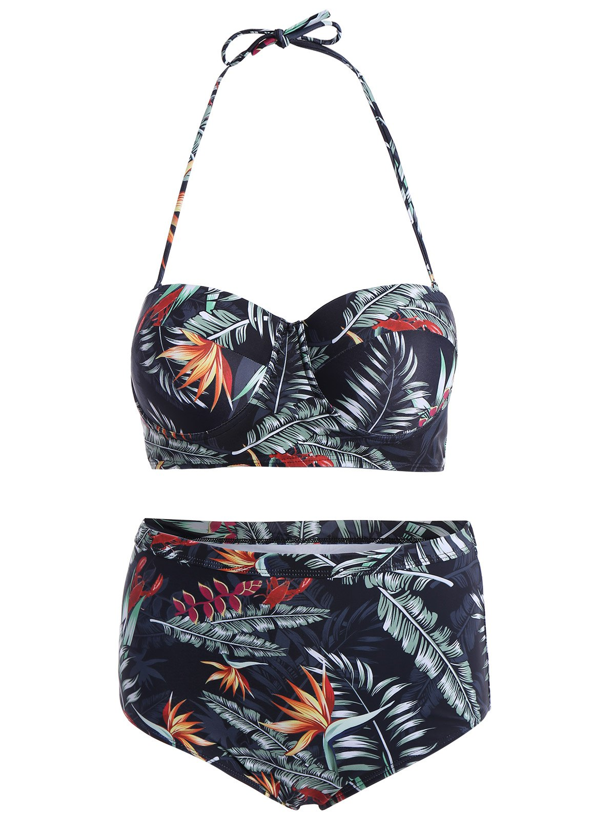 Trendy Tropical Printed High Waist Bikini Set