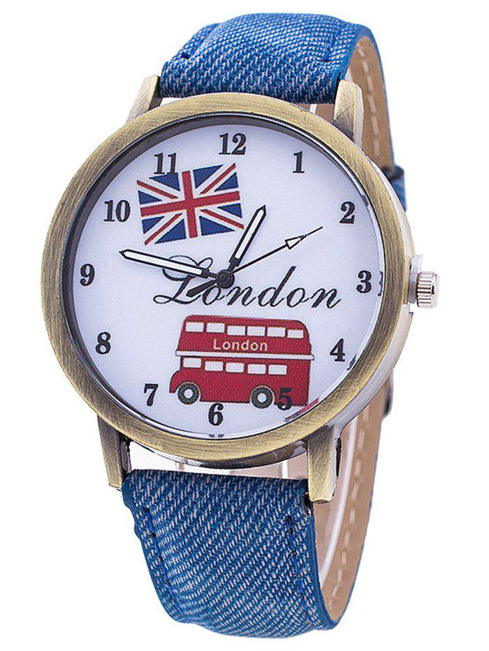 Shop London Cartoon Bus Jean Strap Watch