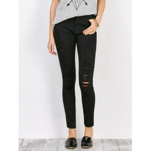 Distressed High Waist Stretchy Skinny Pants - Black - L