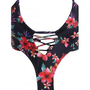 Floral Lace Up Halter Monokini - COLORMIX S