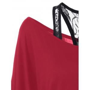 Skew Collar Lace Trim T-Shirt - RED L