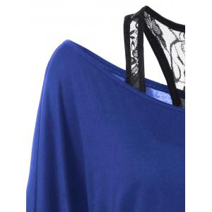 Skew Collar Lace Trim T-Shirt - BLUE L