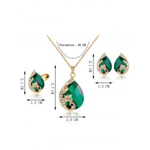 A Suit of Retro Rhinestone Faux Crystal Peacock Necklace Ring and Earrings - GREEN