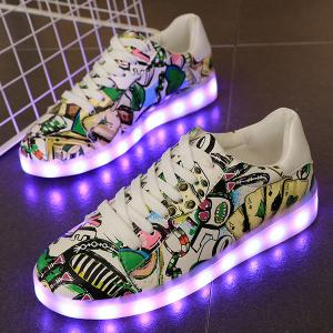 Colour Block Led Luminous Athletic Shoes -