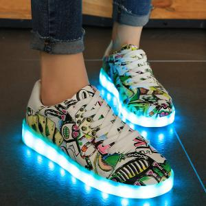 Colour Block Led Luminous Athletic Shoes