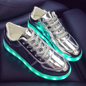 Patent Leather Led Luminous Athletic Shoes - Silver - 37
