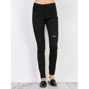 High Waisted Distressed Jeans - Black - S