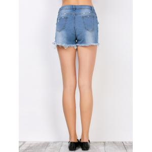 Frayed Denim High Rise Shorts with Pockets - DEEP BLUE M