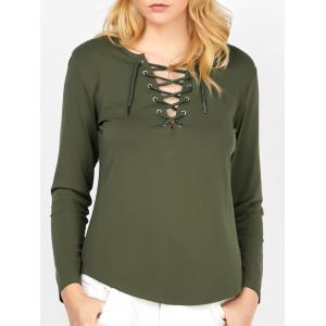 Lace Up Curved Hem Tee - Blackish Green - Xl