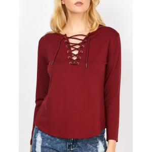 Lace Up Curved Hem Tee - Wine Red - Xl