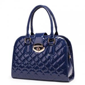 Quilted Metal Detail Patent Leather Handbag -