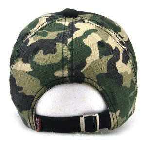 Camouflage Letters Embroidery Spliced Baseball Hat - BLACK