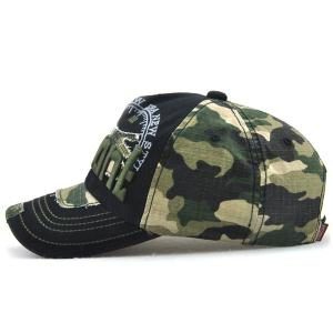 Camouflage Letters Embroidery Spliced Baseball Hat -