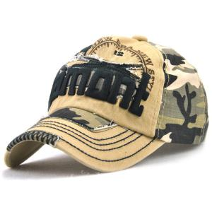 Camouflage Letters Embroidery Spliced Baseball Hat - Khaki - One Size