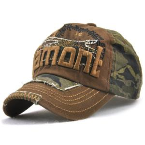 Camouflage Letters Embroidery Spliced Baseball Hat - Coffee