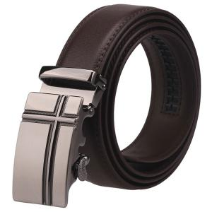 Cross Auto Buckle Faux Leather Belt