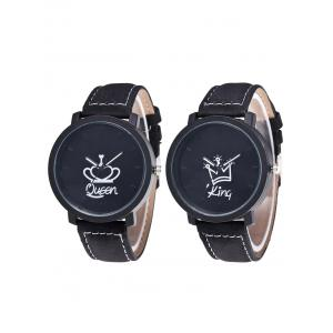 King Queen Crown Analog Couple Watches