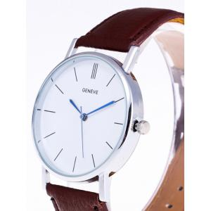 Faux Leather Strap Analog Watch - WHITE