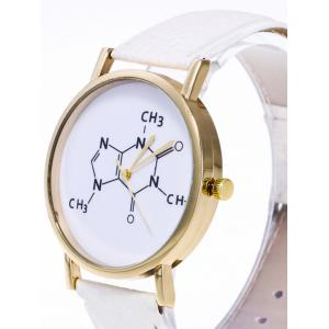 Faux Leather Chemical Formula Analog Watch - BLACK