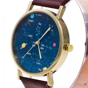 Faux Leather Constellation Analog Watch - BLACK