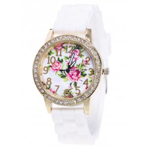 Flower Pattern Silicone Strap Number Watch - White