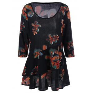 Plus Size Floral Casual Long Layered T-Shirt