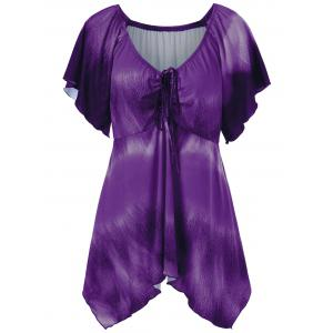 Plus Size Empire Waist Butterfly Sleeve Blouse - Purple - 4xl