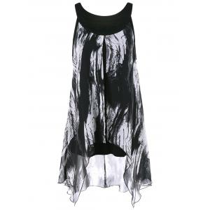 Asymmetrical Plus Size Extra Long Graphic Top