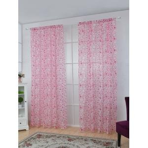 Multi Circle Embroidered Sheer Window Tulle Curtain - Pink - 100*250cm