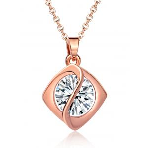 Faux Diamond Rhombus Pendant Necklace - Rose Gold