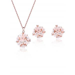 Hydrangea Shape Rhinestones Necklace and Earrings