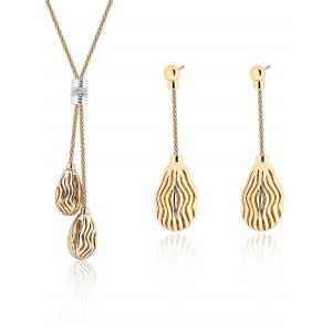 Hollow Out Ripple Teardrop Necklace and Earrings