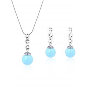 Torus Bead Embellished Necklace and Earrings - Silver