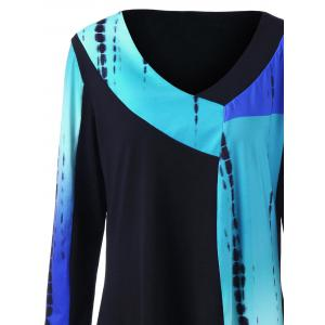 Plus Size Ombre Long Sleeve Tunic - COLORMIX 4XL