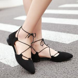 Lace Up Pointed Toe Flat Shoes - BLACK 38