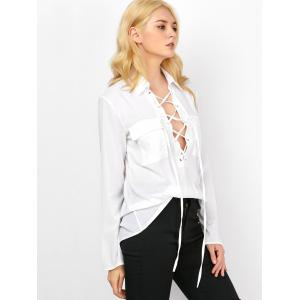 Semi Sheer Pockets Lace Up Blouse - WHITE 2XL