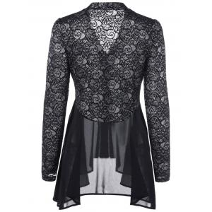 Button Up Floral Lace Blouse - BLACK 2XL