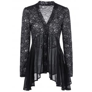 Button Up Floral Lace Blouse - Black - 2xl
