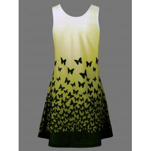 Butterfly Print Ombre Casual A Line Short Tank Dress - YELLOW M