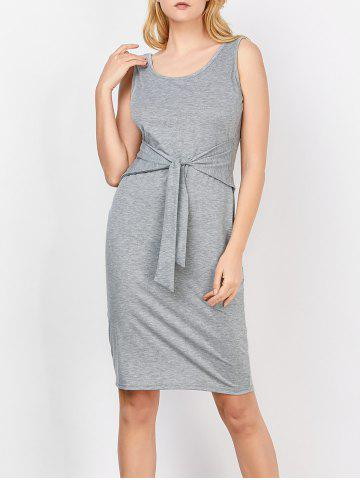 Scoop Neck Self-Tie Tank Bodycon Dress - Gray - L