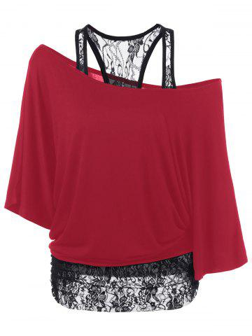 Hot Skew Collar Lace Trim T-Shirt RED L