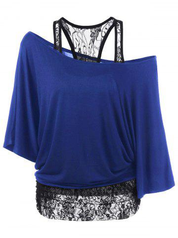 Fancy Skew Collar Lace Trim T-Shirt BLUE L