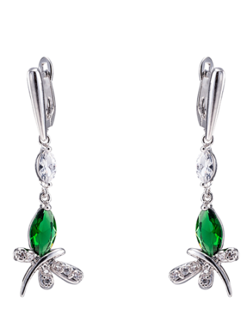 Hot Pair of Butterfly Rhinestone Drop Earrings GREEN