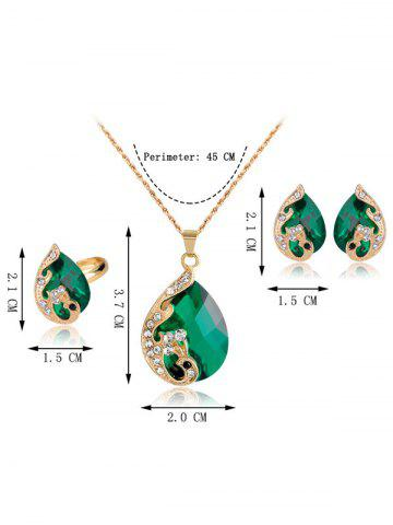 Chic A Suit of Retro Rhinestone Faux Crystal Peacock Necklace Ring and Earrings - GREEN  Mobile