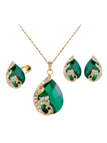 Shops A Suit of Retro Rhinestone Faux Crystal Peacock Necklace Ring and Earrings - GREEN  Mobile