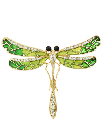 Affordable Rhinestone Enamel Dragonfly Brooch GREEN