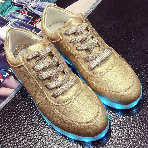Shop Led Luminous Metallic Color Athletic Shoes - 37 GOLDEN Mobile