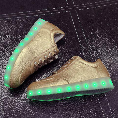 Fashion Led Luminous Metallic Color Athletic Shoes - 37 GOLDEN Mobile