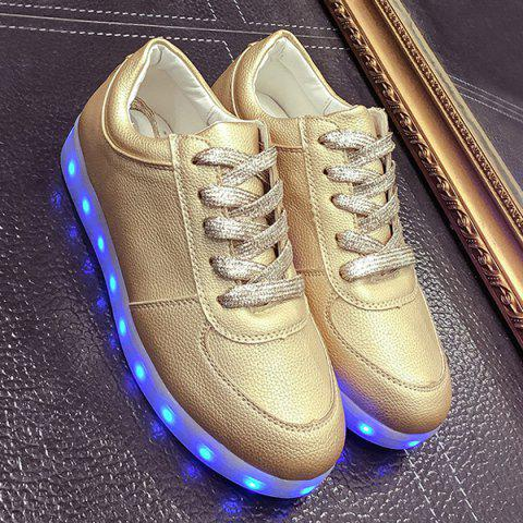 Hot Led Luminous Metallic Color Athletic Shoes - 37 GOLDEN Mobile